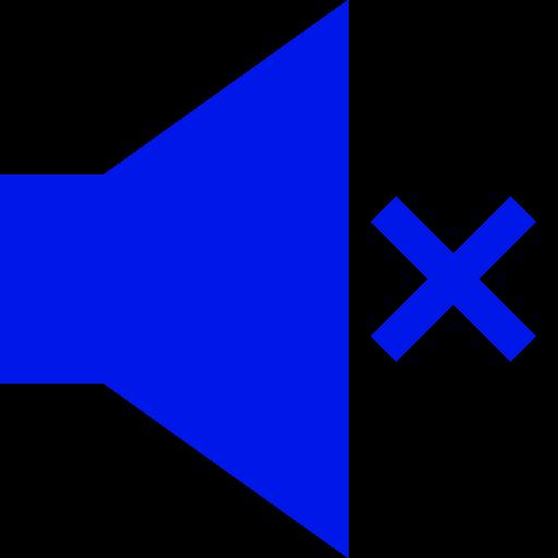 Icône de haut-parleur muet (symbole png) bleu