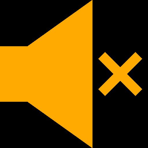 Icône du haut-parleur muet (symbole png) jaune
