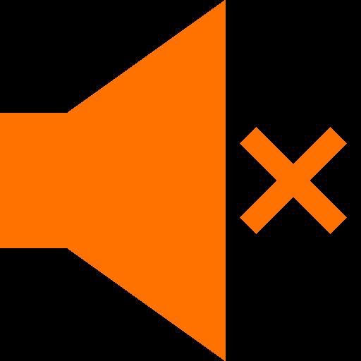 Icône du haut-parleur muet (symbole png) orange