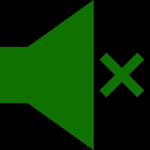 Icône du haut-parleur muet (symbole png) vert