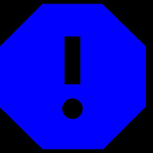 Icône de rapport avec point d'exclamation bleu (symbole png)