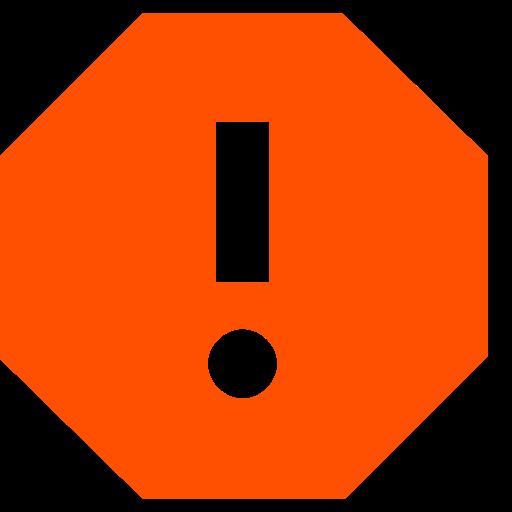 Icône de rapport avec point d'exclamation orange (symbole png)