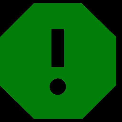 Icône de rapport avec point d'exclamation vert (symbole png)