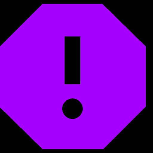 Icône de rapport avec point d'exclamation (symbole png) en violet